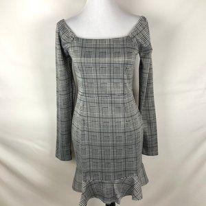 Favlux Fashion Houndstooth Plaid BodyCon Dress - L